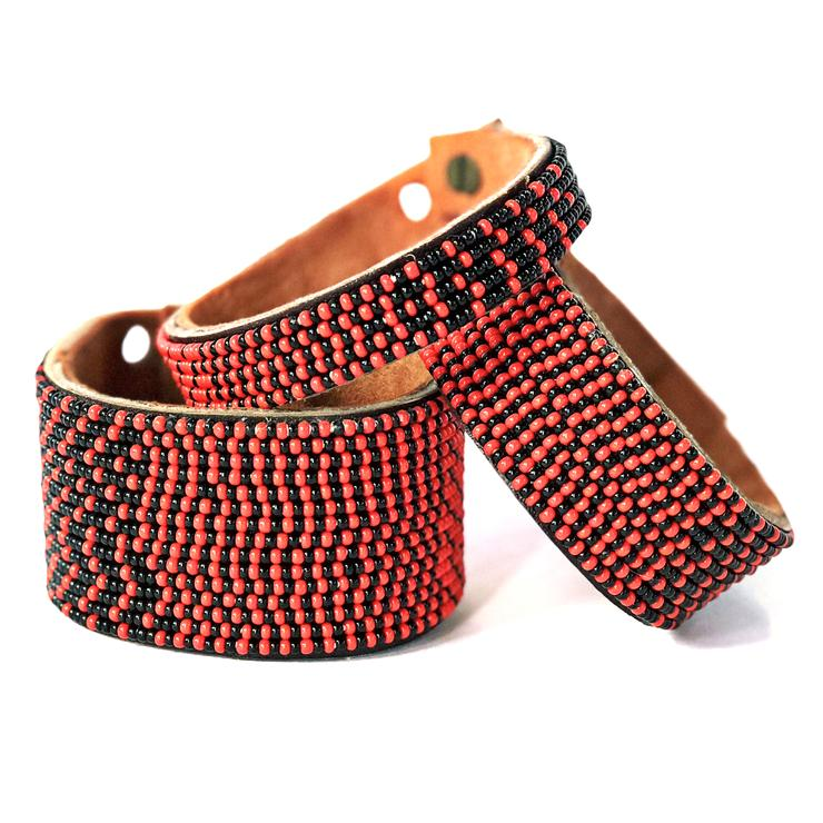 Ombre Red And Black Beaded Leather Cuff Swahili Coast